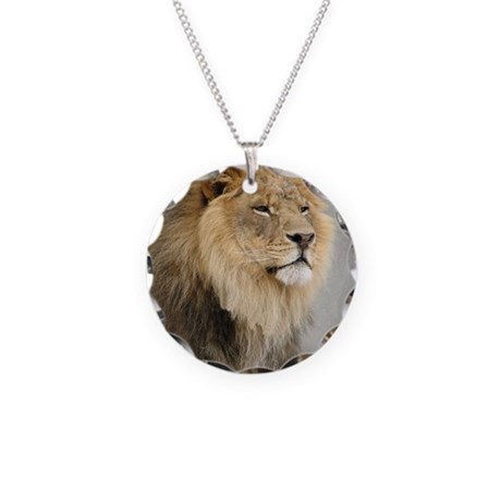 Lion Lovers Necklace Circle Charm