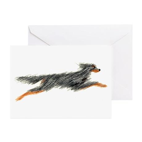 Leaping Gordon Setter Greeting Cards (Pk of 20)