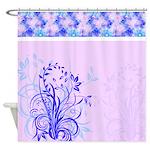 Elegant Blue Floral Art Design Shower Curtain