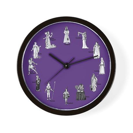 Shakespeare's Women Purple Wall Clock