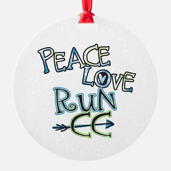 Peace Love Run CC Round Ornament