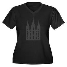 Salt Lake Temple Women's Plus Size V-Neck Dark T-S