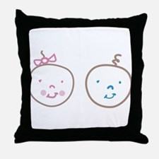 Two Cute Twins Throw Pillow