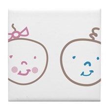 Two Cute Twins Tile Coaster