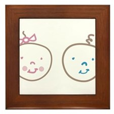Two Cute Twins Framed Tile