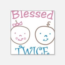 """Blessed Twice Square Sticker 3"""" x 3"""""""