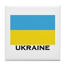 Ukraine Flag Merchandise Tile Coaster