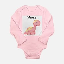 Personalizable Girls Dinosaur Baby Shirt Long Sl.