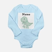 Personalizable T Rex Long Sleeve Baby Bodysuit