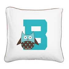 Letter B Owl Monogram Initial Square Canvas Pillow