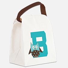 Letter B Owl Monogram Initial Canvas Lunch Bag