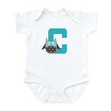 Letter C Owl Monogram Initial Infant Bodysuit