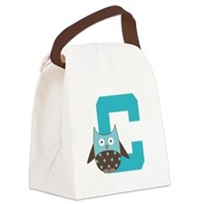 Letter C Owl Monogram Initial Canvas Lunch Bag