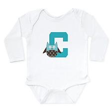 Letter C Owl Monogram Initial Long Sleeve Infant B