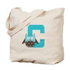 Letter C Owl Monogram Initial Tote Bag