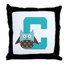 Letter C Owl Monogram Initial Throw Pillow