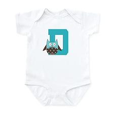 Letter D Monogram Owl Initial Infant Bodysuit