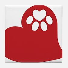 Dog Paw Heart Tile Coaster