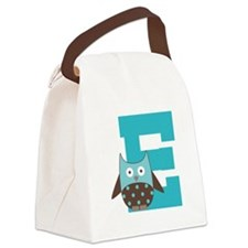 Letter E Monogram Owl Initial Canvas Lunch Bag