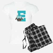 Letter E Monogram Owl Initial Pajamas