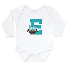 Letter E Monogram Owl Initial Long Sleeve Infant B