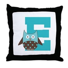 Letter E Monogram Owl Initial Throw Pillow