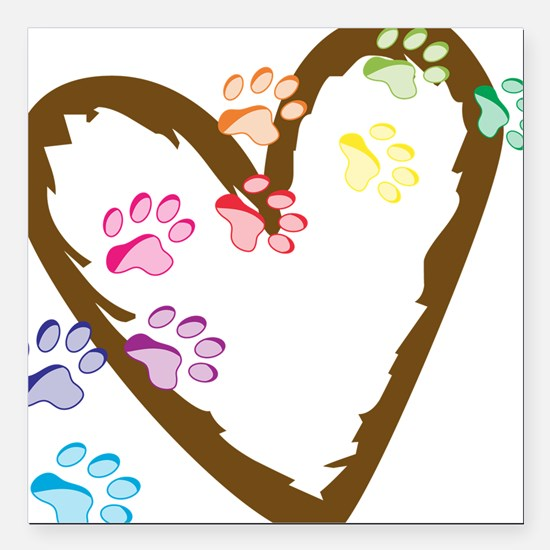 """Paw Heart Square Car Magnet 3"""" x 3"""""""