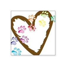 "Paw Heart Square Sticker 3"" x 3"""