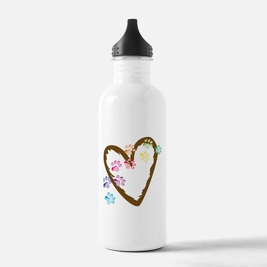 Paw Heart Sports Water Bottle