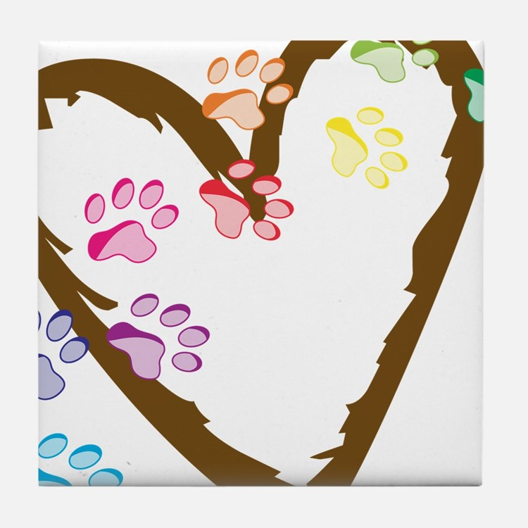 Paw Heart Tile Coaster