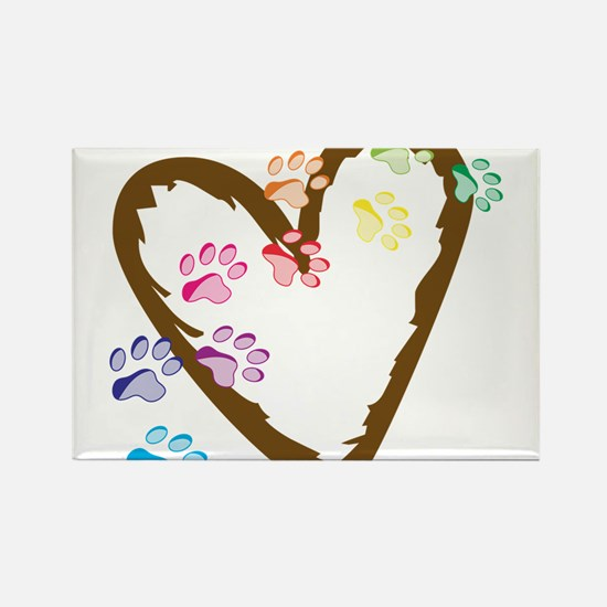 Paw Heart Rectangle Magnet