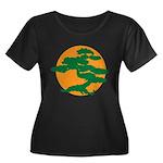 Bonsai Tree Women's Plus Size Scoop Neck Dark T-Sh