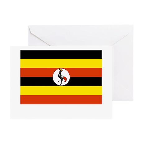 Uganda Flag Picture Greeting Cards (Pk of 10)