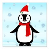 December holidays penguin Square Car Magnets