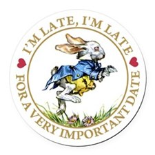 I'm Late, I'm Late! Round Car Magnet