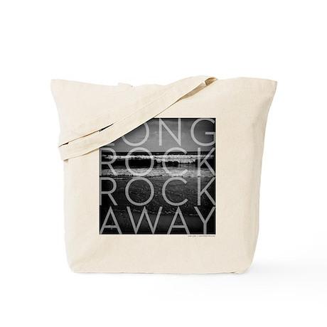 Long Rock Rockaway Waves in Black & White Tote