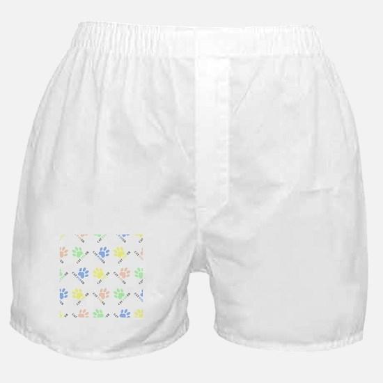 Cat lover design cat paw prints color Boxer Shorts