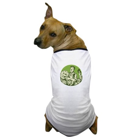 Organic Farmer Green Grocer Vegetable Retro Dog T-