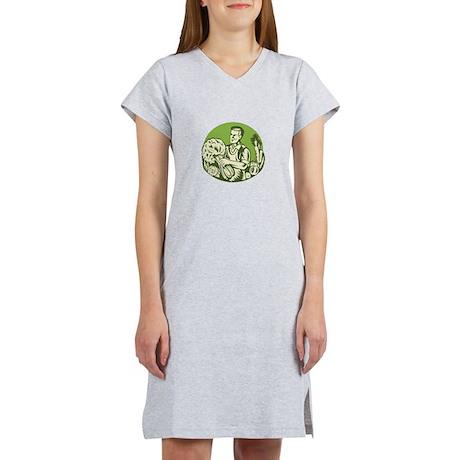Organic Farmer Green Grocer Vegetable Retro Women'