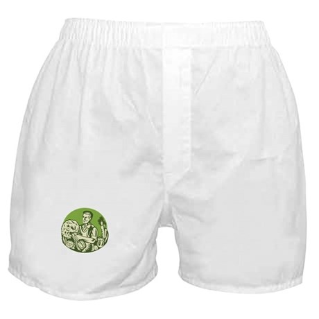 Organic Farmer Green Grocer Vegetable Retro Boxer