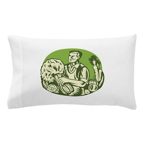 Organic Farmer Green Grocer Vegetable Retro Pillow
