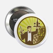 "Waiter Serving Wine Grapes Barrel Retro 2.25"" Butt"