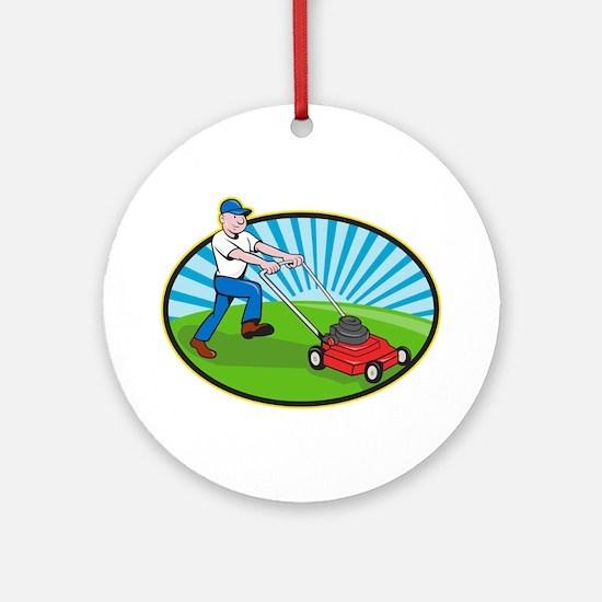 Lawn Mower Man Gardener Cartoon Ornament (Round)