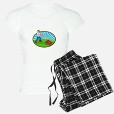 Lawn Mower Man Gardener Cartoon Pajamas