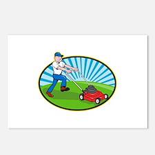 Lawn Mower Man Gardener Cartoon Postcards (Package