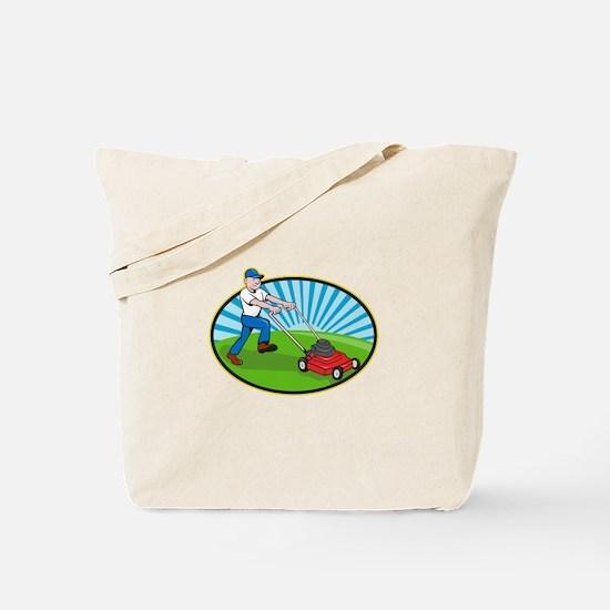 Lawn Mower Man Gardener Cartoon Tote Bag