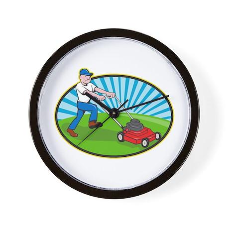 Lawn Mower Man Gardener Cartoon Wall Clock