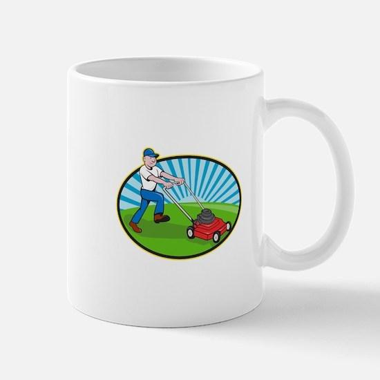 Lawn Mower Man Gardener Cartoon Mug