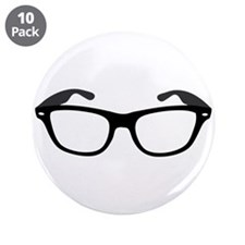 """Geeky / Nerdy Glasses 3.5"""" Button (10 pack)"""