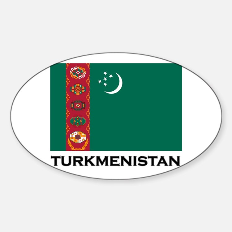 Turkmenistan Flag Stuff Oval Decal